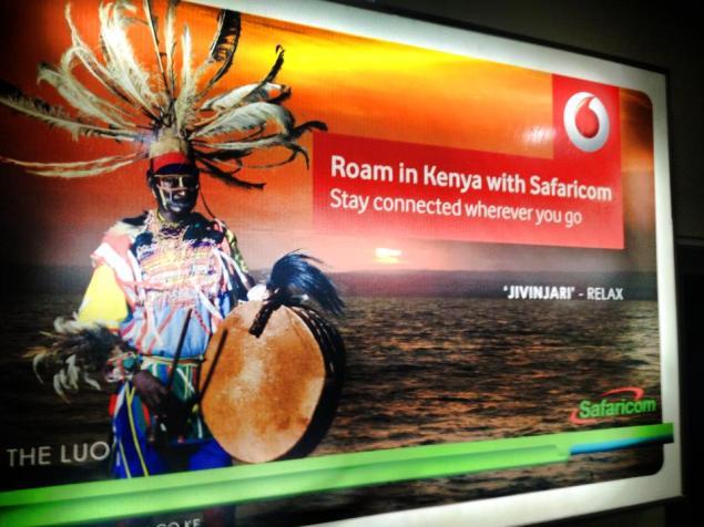 Vodaphone advert in the Nairobi airport