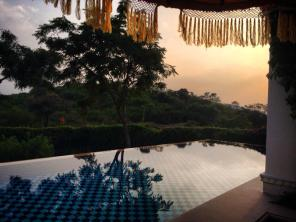 Sunset over the semi-private pool.