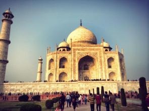 Standing at the base of the Taj.