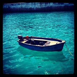 The beautiful crystal blue water.