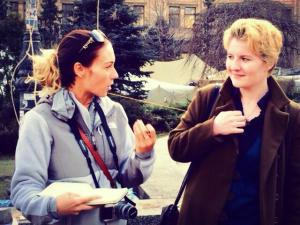 Katya and I, interviewing people on the Maidan.