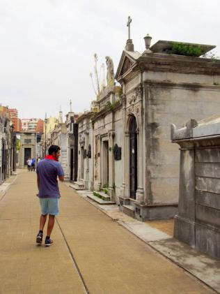 Touring the graves.