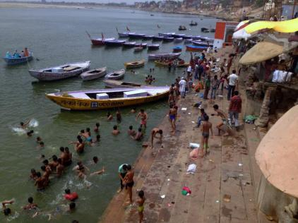 Locals bathing in the River Ganges.