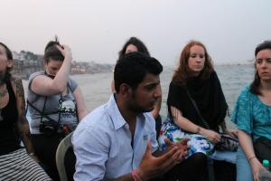 Our guide explaining Hinduism to us Westerners.