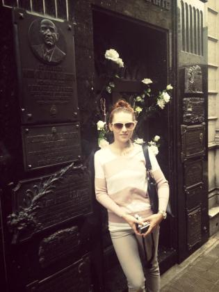 Me, standing beside the most famous grave, that of Evita Peron.
