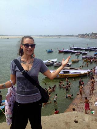 Me, showing you the ghats along the Ganges.