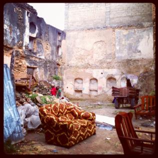 An open air living room in Stone Town.