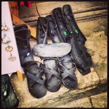 Shoes made out of tyres in Stone Town market.
