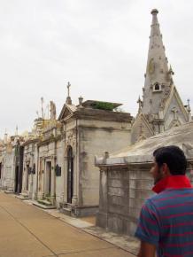 Walking in the Recoleta Cemetery.