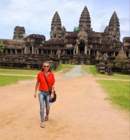Me, walking in front of an Angkor Wat temple!