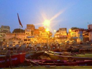 Varanasi from the Ganges river, at sunrise.