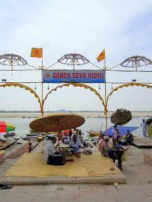 Entrance to the ghats (steps) that lead down to the Ganges riverfront.