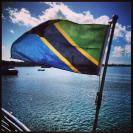 The Tanzanian flag on the ferry from Dar Es Salaam to Stone Town, Zanzibar Island.