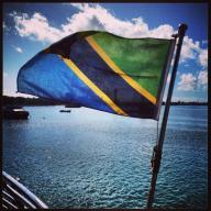 The Tanzanian flag on the ferry from Dar Es Salaam to Stone Town, Zanzibar Island.