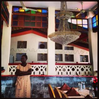 Inside a fabulous Indian restaurant.