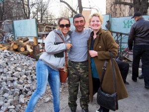 Zahor, the Chechnyan fighter, with me and my guide, Katya.
