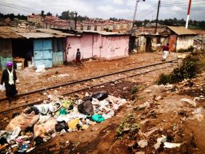 The railway tracks in Kibera.