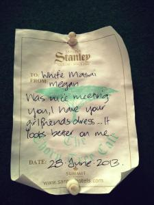 A cheeky note left on an acacia tree in the central courtyard of the Sarova Stanley hotel.