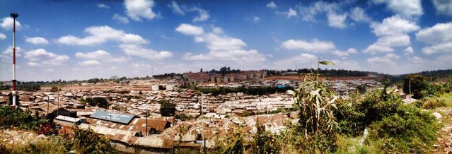 Panoramic shot of the Kibera slums.