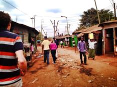 Walking through Kibera.