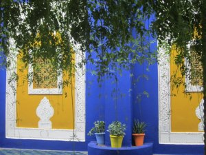 """Bleu Majorelle""; a shade of cobalt blue developed by the original owner of the garden, a French expat named Jacques Majorelle."