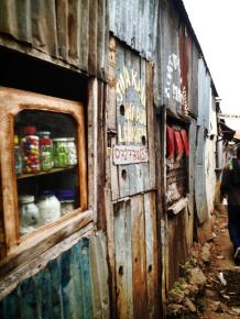 A shop selling provisions in Kibera.