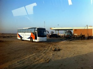 Mohammed's tour bus, who came to rescue us and siphon petrol into our empty tank!