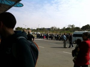 The scene at the Cairo airport American evac terminal.