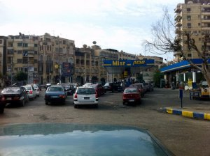 A gas station queue in Cairo during the revolution.