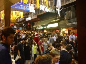 The crowds of people on Lan Kwai Fong street on Halloween night!