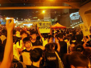 Protesters in the Occupy Central movement hold up a sign during a night rally.