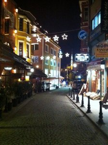 The streets of Istanbul at night.